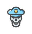 skull in police cap icon cartoon vector image