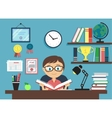 Smart boy with a book vector image vector image
