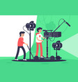 smiling men filming movie with special equipment vector image vector image