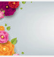 spring border with color flowers grey background vector image vector image