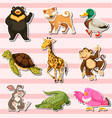 sticker set with wild animals on pink background vector image vector image