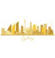 sydney australia city skyline golden silhouette vector image vector image