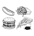 vintage fast food drawing set vector image