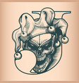 vintage joker skull monochrome hand drawn tattoo vector image