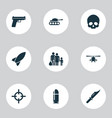warfare icons set with skull sniper refugee and vector image vector image