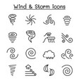 wind storm icon set in thin line style vector image vector image