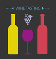 Wine tasting card two yellow and red bottles vector image vector image
