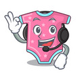 with headphone baby wool clothes isolated on vector image