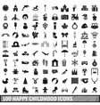 100 happy childhood icons set simple style vector image vector image