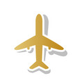 airplane sign golden vector image vector image