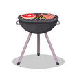 barbecue grill with grilled meat steak icon vector image vector image