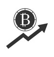 bitcoin goes up icon vector image vector image
