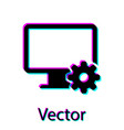 black computer monitor and gear icon isolated on vector image vector image