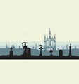 black silhouette of gothic cemetery vector image vector image
