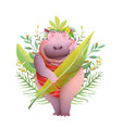 Body positive hippopotamus lady in jungle smiling