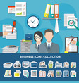 business items icon set vector image vector image