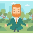 Businessman meditating in lotus pose vector image vector image
