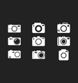 camera icon set on black background in flat style vector image vector image