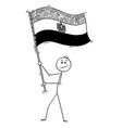 cartoon man waving flag arab republic vector image