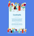 cocktails poster multicolored vector image vector image