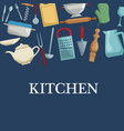 color background with different utensil of kitchen vector image
