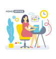 color side view interior home office room vector image