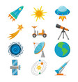 colorful space icons set in flat style vector image