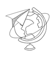contour with map of the world and plane of paper vector image vector image