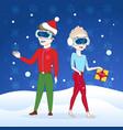 couple wear digital glasses merry christmas happy vector image