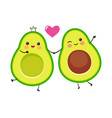cute avocado couple vector image vector image