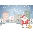 Cute cartoon Santa Claus with bag in the small vector image