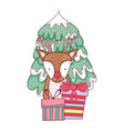 cute christmas reindeer with pine tree vector image