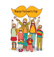 fathers day children moustache greeting card vector image