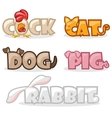funny cute animal text name vector image vector image