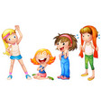 girls in four actions vector image vector image