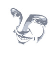 Hand-drawn of woman face black and white mask with vector image vector image