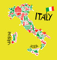 hand drawn stylized map italy travel of vector image vector image