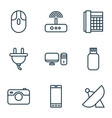 hardware icons set with photographing sputnik vector image vector image