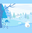 hare and winter landscape forest with pine trees vector image vector image