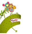 Horrible and Cute Funny Monster with Bunch of vector image