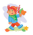 icon small boy collects fallen leaves vector image vector image