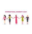 mix race women group holding hands international vector image