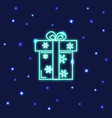 neon gift box icon in line style vector image