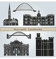 Newcastle landmarks and monuments vector image vector image