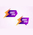 quick tips icons with lightning bolt sign vector image vector image