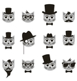 retro gentleman and hipster cat icons set vector image vector image