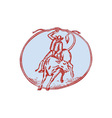 Rodeo Cowboy Bull Riding Circle Etching vector image vector image