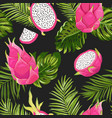 seamless dragon fruit pattern pitaya background vector image vector image