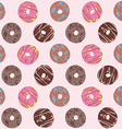 seamless pattern with glazed donuts chocolate vector image