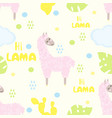 seamless pattern with lama and cactus vector image